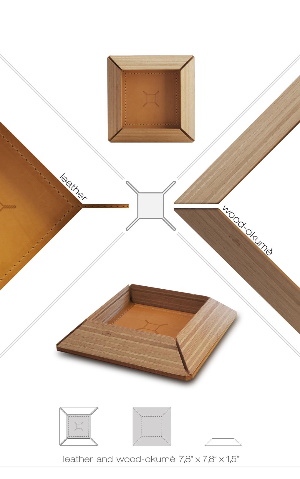 Svuota tasche LUX3 in pelle e legno LUX3
